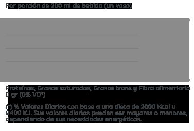información nutricional gaseosa Tónica